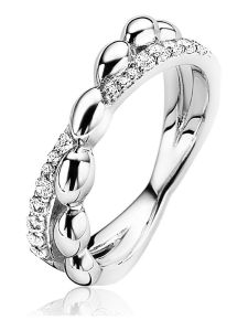 ZIR1676 Zilveren cross-over ring 6 mm druppel met zirkonia
