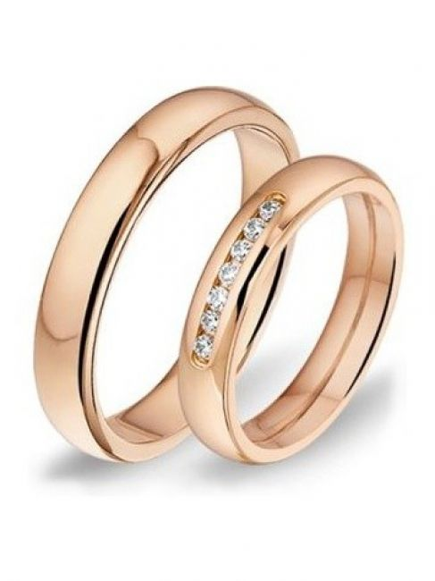 Alliance 1411 14 karaat roségouden trouwringen met 0,14 ct diamant