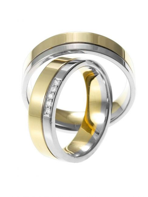 Alliance 624/626-pave-14 karaat bi-color gouden trouwringen met 0,05 ct diamant