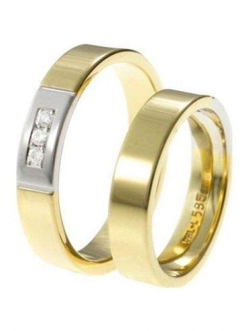 Alliance 629/630 9 karaat bi-color gouden trouwringen met 0,05 ct diamant