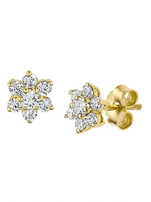 Treasure Collection TC-42847 Gouden oorknoppen zirkonia 6x6 mm