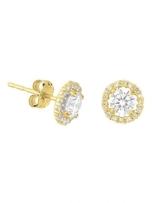 Treasure Collection TC-42848 Gouden oorknoppen zirkonia 7x7 mm