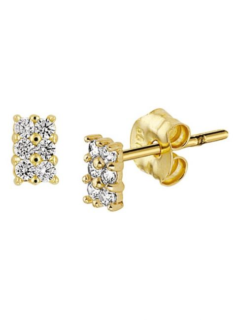 Treasure Collection TC-42858 Gouden oorknoppen zirkonia 4,5x3 mm