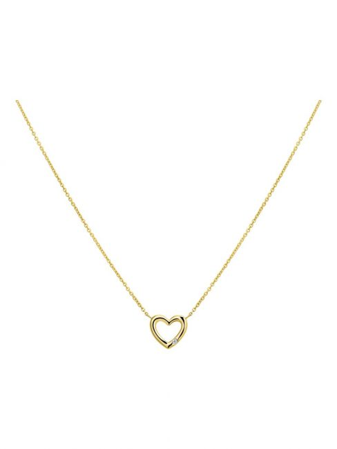 Treasure Collection TC-43787 14 karaat gouden ketting hart met 0,01 ct diamant
