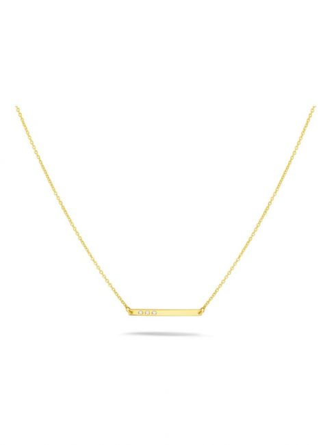 Treasure Collection TC-44915 14 karaat gouden ketting balkje met 0,015 ct diamant