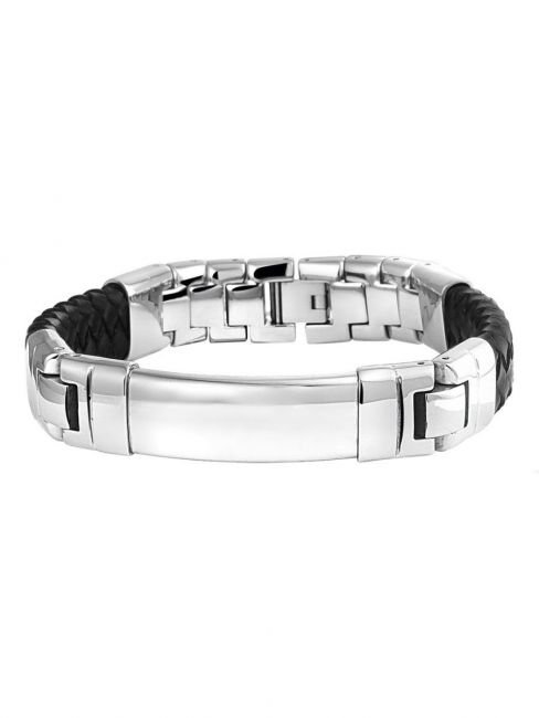 Treasure Collection TC-39418 Edelstalen naamplaat armband met leer