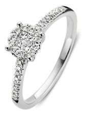 Excellent Jewelry RG216665 14 karaat witgouden ring 6,5 mm met 0,32 ct diamant