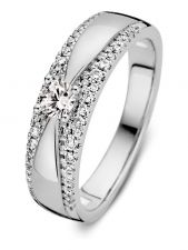 Excellent Jewelry RG217083 14 karaat witgouden ring met 0,40 ct diamant