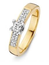 Excellent Jewelry RG415402 14 karaat geelgouden ring met 0,29 ct diamant