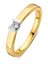 Excellent Jewelry RG416837 14 karaat bicolor gouden ring met 0,11 ct diamant