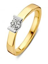 Excellent Jewelry RG416839 14 karaat bicolor gouden ring met 0,20 ct diamant