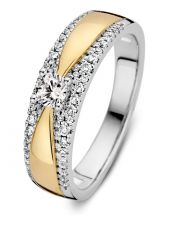 Excellent Jewelry RG417082 14 karaat bicolor gouden ring met 0,40 ct diamant
