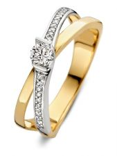 Excellent Jewelry RK417091 14 karaat bicolor gouden ring met 0,22 ct diamant