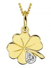 Treasure Collection TC-1334 14 karaat gouden klaver vier met 0,005 ct diamant