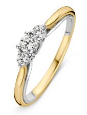 Excellent Jewelry RG416899 14 karaat bicolor gouden ring met 0,31 ct diamant