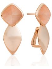 Sparkling Jewels EAR05-G32 Edge zilveren oorbellen peach rhodonite 23 mm