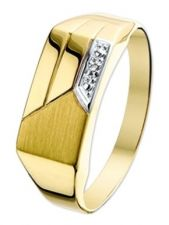 Treasure Collection TC-36656 14 karaat gouden herenring met 0,005 ct diamant
