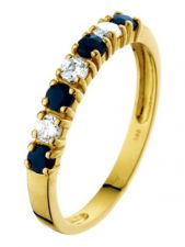 Treasure Collection TC-31215 14 karaat gouden ring met saffier en zirkonia