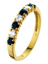 Treasure Collection TC-54773 14 karaat gouden ring met saffier en zirkonia