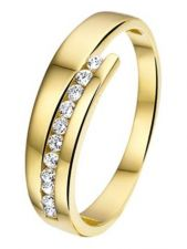 Treasure Collection TC-53526 14 karaat gouden ring met zirkonia 6 mm