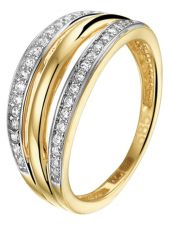 Treasure Collection TC-53373 14 karaat gouden bicolor ring met zirkonia 8 mm