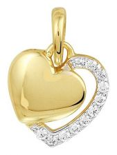 Treasure Collection TC-881341 14 karaat gouden hanger hart met zirkonia 11 mm
