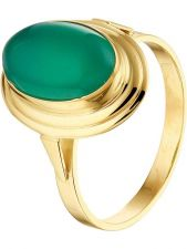 Treasure Collection TC-53497 14 karaat gouden ring met groen agaat 16 mm
