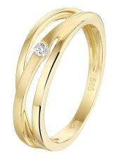 Treasure Collection L052 14 karaat gouden ring 5,5 mm met 0,04 ct diamant