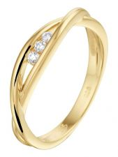 Treasure Collection L038 14 karaat gouden ring 4 mm met 0,06 ct diamant