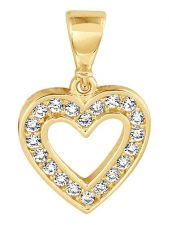 Treasure Collection TC-881807 14 karaat gouden hanger hart met zirkonia 10,5 mm