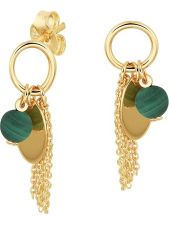 Treasure Collection L527 14 karaat gouden oorhangers met malachiet 23 mm