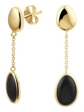 Treasure Collection L235 14 karaat gouden oorhangers met onyx 34 mm