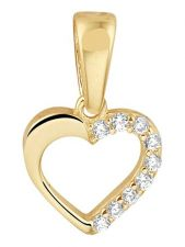 Treasure Collection TC-881785 14 karaat gouden hanger hart met zirkonia 14 mm