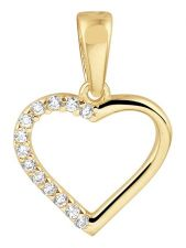 Treasure Collection TC-881784 14 karaat gouden hanger hart met zirkonia 17 mm