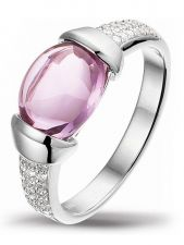 Treasure Collection TC-47845 14 karaat witgouden ring met amethyst en 0,13 ct diamant E099