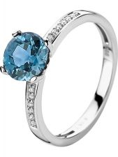 Treasure Collection TC-51513 14 karaat witgouden ring met topaas en 0,05 ct diamant