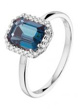 Treasure Collection TC-881740 14 karaat witgouden ring met blauw topaas en 0,10 ct diamant