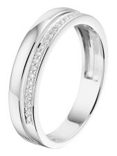 Treasure Collection L031 14 karaat witgouden ring 4,5 mm met 0,09 ct diamant