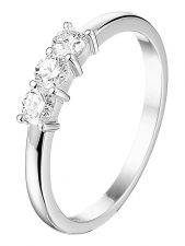 Treasure Collection L075 14 karaat witgouden memoire ring met 0,30 ct diamant