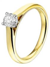 Treasure Collection TC-48834 14 karaat bi-color gouden solitair ring met 0,3 ct diamant