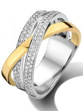 Treasure Collection L057 14 karaat bicolor gouden ring 11 mm met 0,54 ct diamant