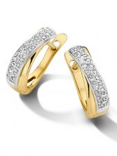 Treasure Collection L055 14 karaat bicolor gouden klapcreolen met 0,33 ct diamant