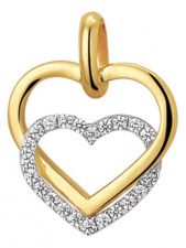 Treasure Collection TC-881365 14 karaat bi-color gouden hanger hart met zirkonia