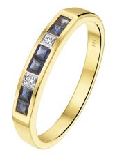 Treasure Collection TC-881840 14 karaat gouden saffier ring met 0,02 ct diamant