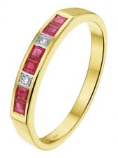 Treasure Collection TC-881841 14 karaat gouden robijn ring met 0,02 ct diamant