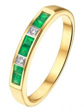 Treasure Collection TC-881838 14 karaat gouden smaragd ring met 0,02 ct diamant