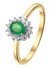Treasure Collection TC-881832 14 karaat bi-color gouden smaragd ring met 0,10 ct diamant