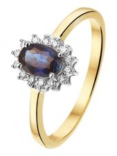 Treasure Collection TC-881836 14 karaat bi-color gouden saffier ring met 0,10 ct diamant