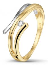Treasure Collection TC-47903 14 karaat bi-color gouden ring met 0,04 ct diamant