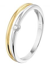Treasure Collection L009 14 karaat bicolor gouden ring 4 mm met 0,05 ct diamant